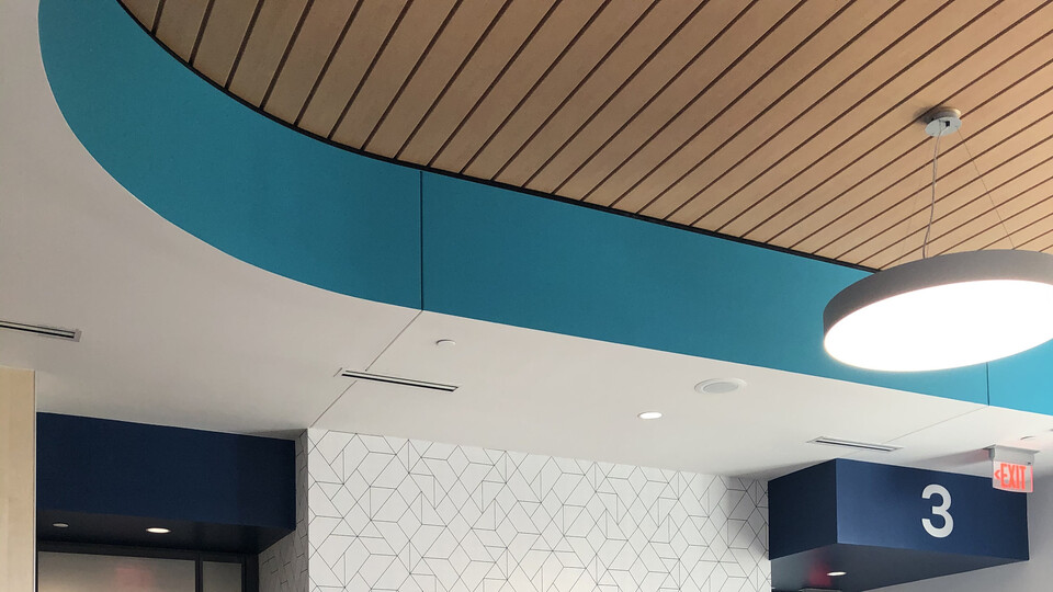 Featured products: Rockfon® Planar® Macro and Planar® Macroplus® Linear Ceilings