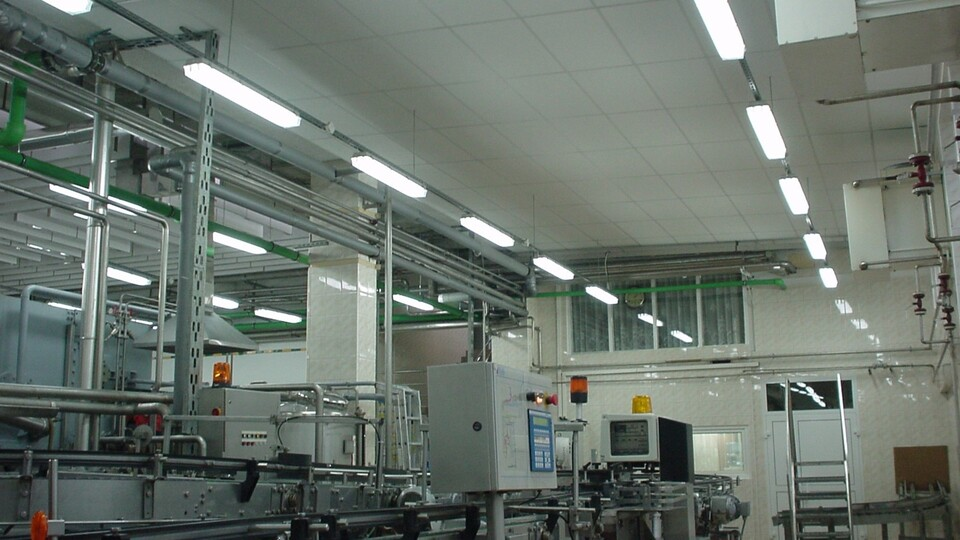 Industrial ceiling panels for factories and production facilities