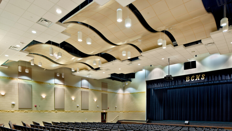 Featured products: Rockfon® CurvGrid™ Two-directional Curved Ceiling System - Rockfon® Infinity™ Standard Perimeter Trim