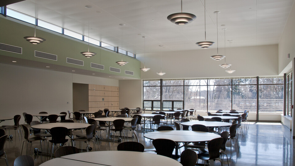 Cranbrook Kingswood Middle School for Girls, Ghafari Associates, Office of Capital Projects, Cranbrook Educational Communities, Frank Rewold & Son, Huron Acoustic Tile Company, Selleck Architectural Sales Inc., SpanAir Hook-In Plank Perforated Metal Panels, Saari Photography