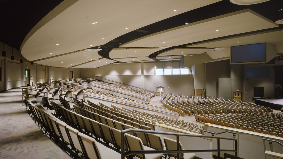 Traders Point Christian Church, The Larson Group, Service Drywall, Infinity D Perimeter Trim, Worship Center