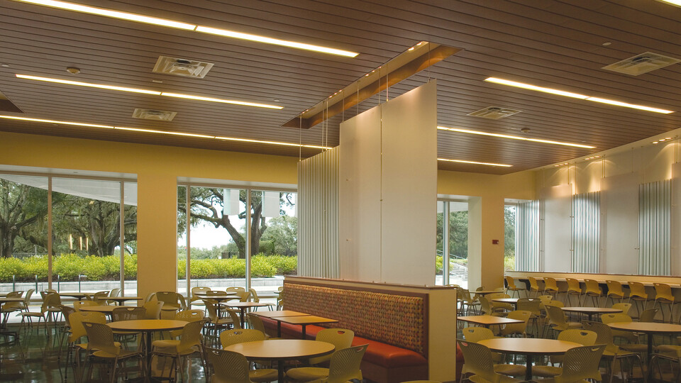 University of South Florida Marshall Student Center, Gould Evans Associates, The Beck Group, Planar Linear Ceiling Panel with MetalWood Finish, Metal Ceilings, Education