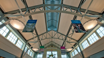 North Carolina History Center at Tryon Palace, Jennifer Amster, BJAC, Quinn Evans, Bill Barlow, Acousti Engineering Co., Planostile Snap-in Metal Ceiling Panels, Dustin Shores Photography