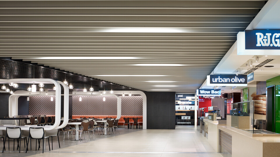 Featured products: Rockfon® Intaline™ V-Base Metal Baffle Ceilings - Rockfon® Magna T-Cell™ Open Plenum Ceiling System - Rockfon® Infinity™ Engineered Perimeter Trim