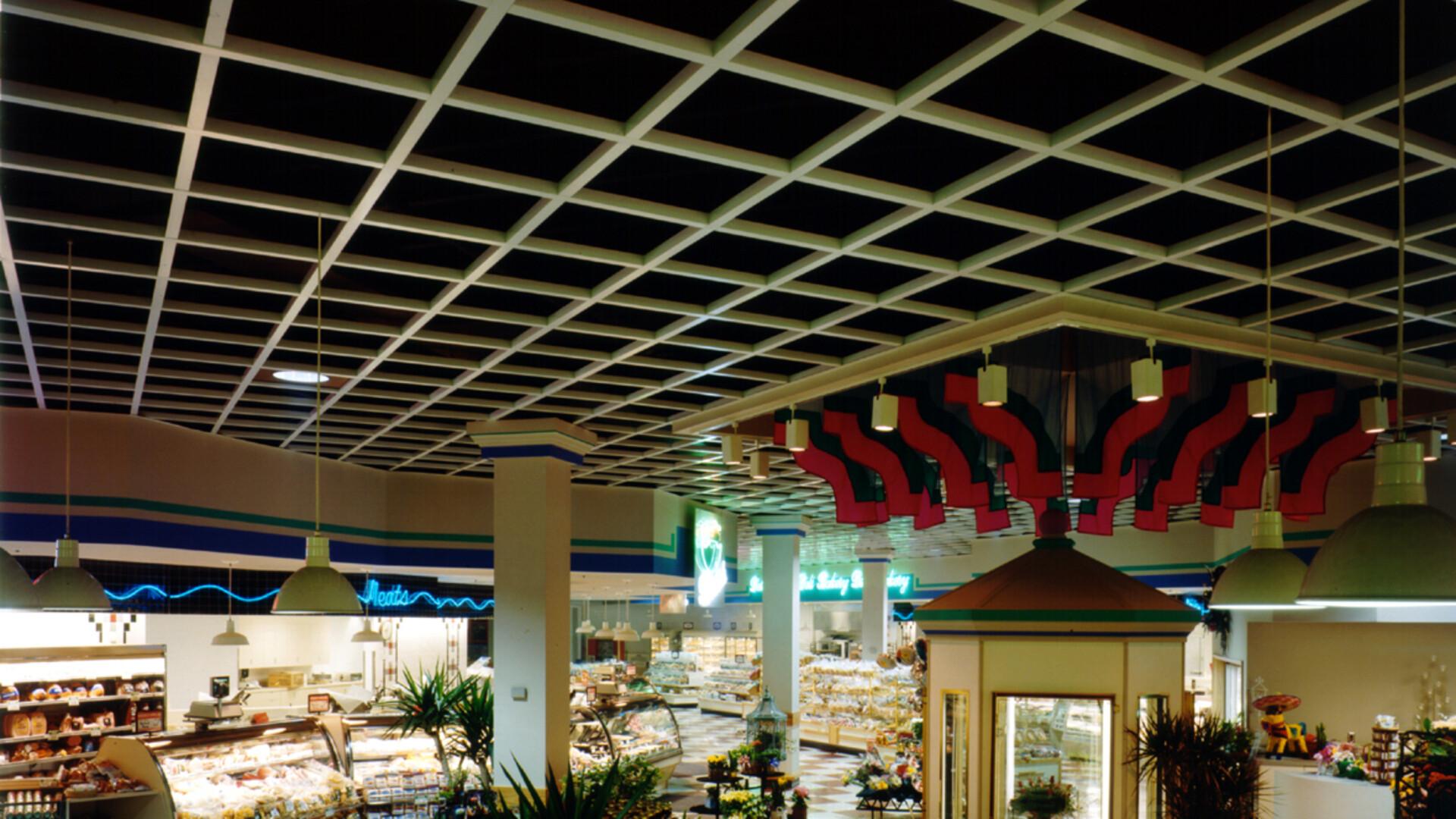 BeamGrid, Grocery Store, metal ceilings, website photography