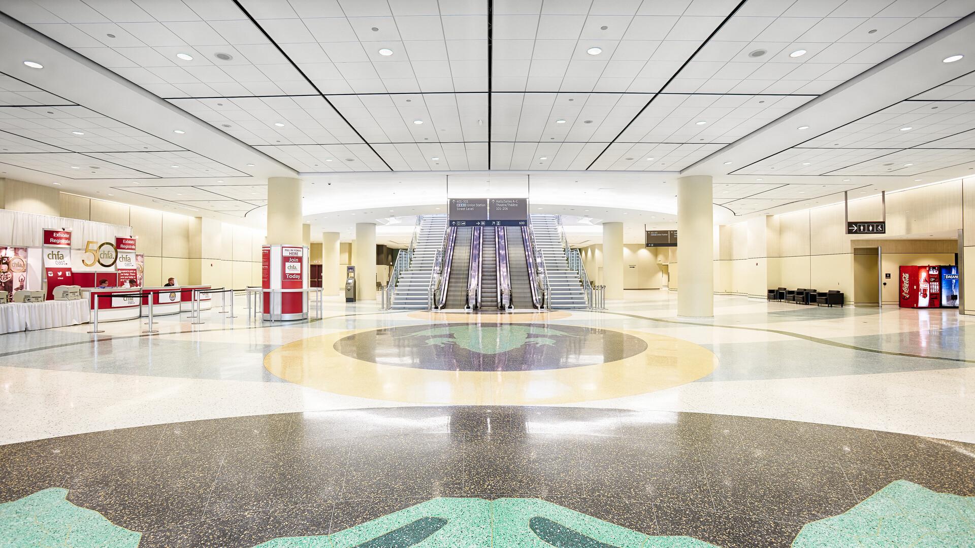 Metro Toronto Convention Centre (MTCC), Toronto, Canada, 3771,9m2, B + H Architects, Showtech Power & Lighting, LEED, Bochsler Creative Solutions, Koral, Square Tegular, 2' x 2', White