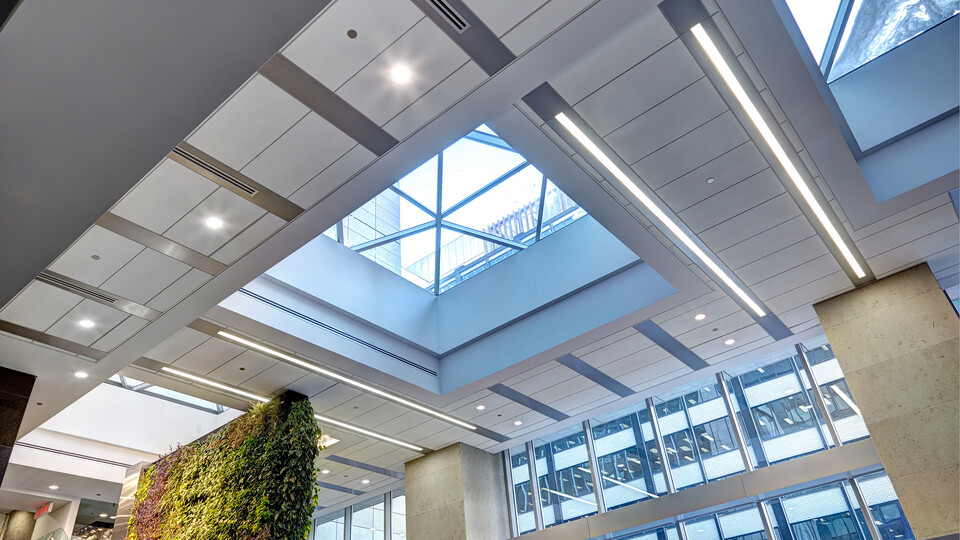 """90 Elgin, Ottawa, Canada, 34.123 m2, Rockfon Specialty Metal Ceilings, Chicago Metallic, Dialog, David S. McRobie Architects (DSMA), Ron Engineering and Construction/State of the Art Acoustik Inc., The Great-West Life Assurance Company (Building), Government of Canada (Land), Advance Drywall Ltd./Morin Bros. Builiding Supplies, LEED, Bochsler Creative Solutions, Planar MacroPlus, Round, 8"""", Satin Silver"""