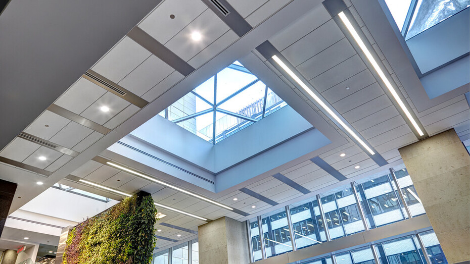 """90 Elgin, Ottawa, Canada, 34.123 m2, Rockfon Specialty Metal Ceilings, Chicago Metallic, Dialog, MCROBIE Architects + Interior Designers, Ron Engineering and Construction/State of the Art Acoustik Inc., The Great-West Life Assurance Company (Building), Government of Canada (Land), Advance Drywall Ltd./Morin Bros. Builiding Supplies, LEED, Bochsler Creative Solutions, Planar MacroPlus, Round, 8"""", Satin Silver"""