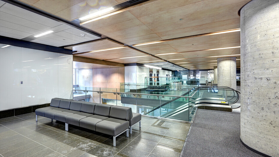"90 Elgin, Ottawa, Canada, 34.123 m2, Rockfon Specialty Metal Ceilings, Chicago Metallic, Dialog, MCROBIE Architects + Interior Designers, Ron Engineering and Construction/State of the Art Acoustik Inc., The Great-West Life Assurance Company (Building), Government of Canada (Land), Advance Drywall Ltd./Morin Bros. Builiding Supplies, LEED, Bochsler Creative Solutions, SpanAir Hook-On, Planostile Lay-In, Reveal, 24"" x 48"", 24"", 48"", 72"", 96"" and 120"", Black, Satin Silver, WoodScenes Lazy Maple"