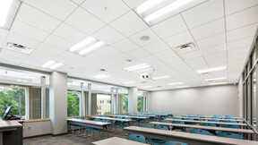 Arkansas State University HSS Building,Jonesboro,AR,USA,8361m²,AMR Architects Inc.,Arkansas State University,Curtis Construction,Robert Pepple of Pepple Photography,ROCKFON Tropic,SLN-edge,2'x2',White,Chicago Metallic Bolt Slot Ultraline 4500 HD Seismic DEF