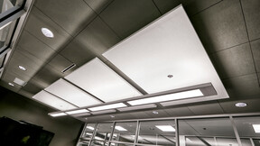 ROXUL ROCKFON Head Office,Milton,ON,Canada,2230m²,SRM Architects,Lorilie Ratz,Roxul Inc.,Canaan Construction Inc.,Patene,LEED,Bochsler Creative,ROCKFON Color-all,ROCKFON Island,CDX-edge,2x2,white,clay,Chicago Metallic 1200 HRCmax