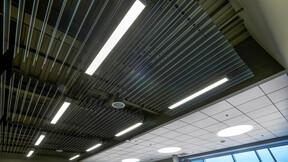 ROXUL ROCKFON Head Office,Milton,ON,Canada,2230m²,SRM Architects,Lorilie Ratz,Roxul Inc.,Canaan Construction Inc.,Patene,LEED,Bochsler Creative,ROCKFON Sonar,ROCKFON Intaline Baffle,SLN-edge,2x2,white,black,satin silver,Chicago Metallic 4600 Ultraline