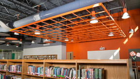 Cushing Middle School and High School Fieldhouse, Cushing School District, Boynton Williams & Associates (BWA), Cushing School District,R.L.S. Construction, LLC, ,ROCKFON CubeGrid,Orange (RAL2012),1200