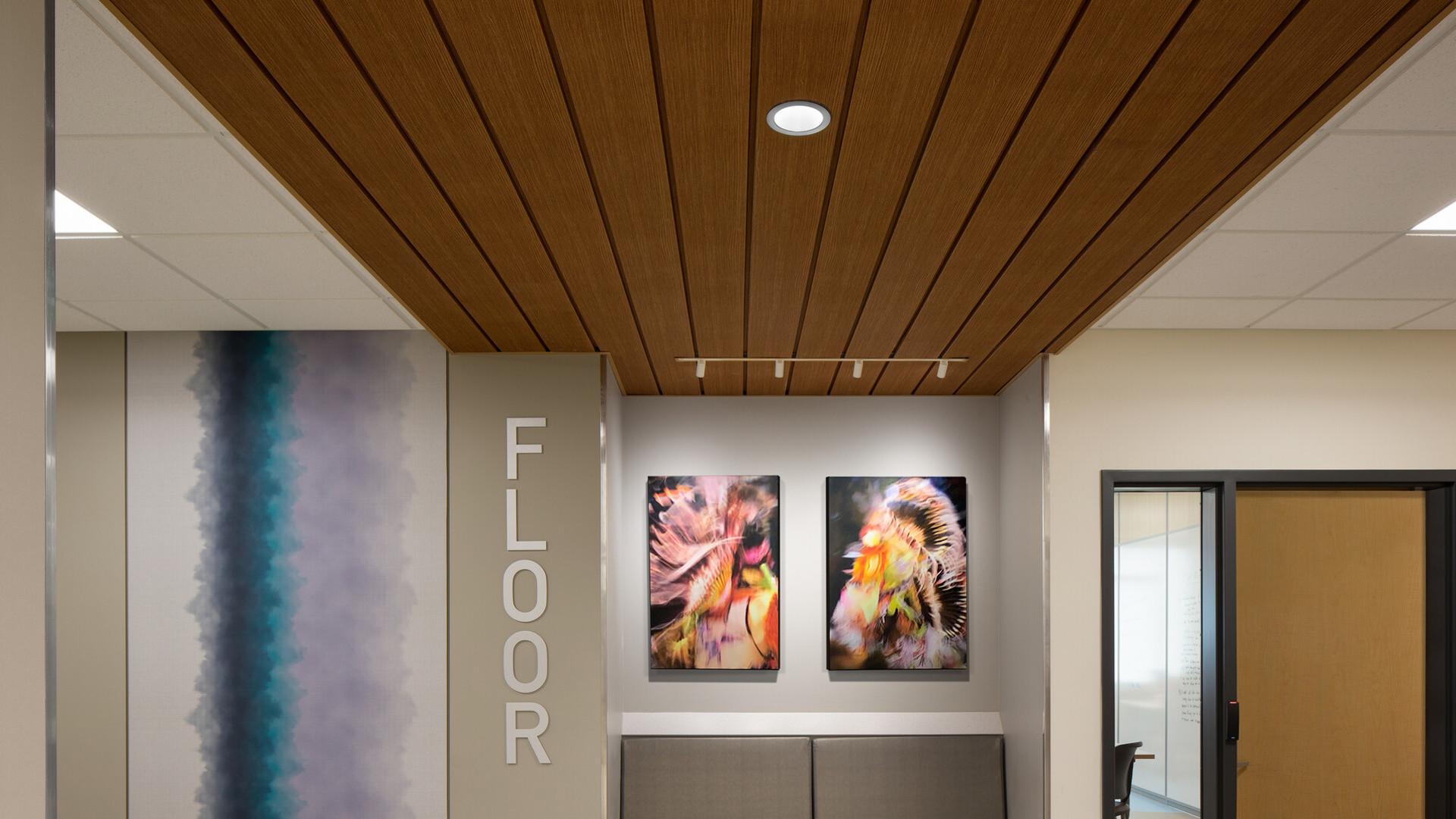 Featured products: Rockfon® Infinity™ Engineered Perimeter Trim - Rockfon® Planar® and Planar® Plus Linear Ceilings