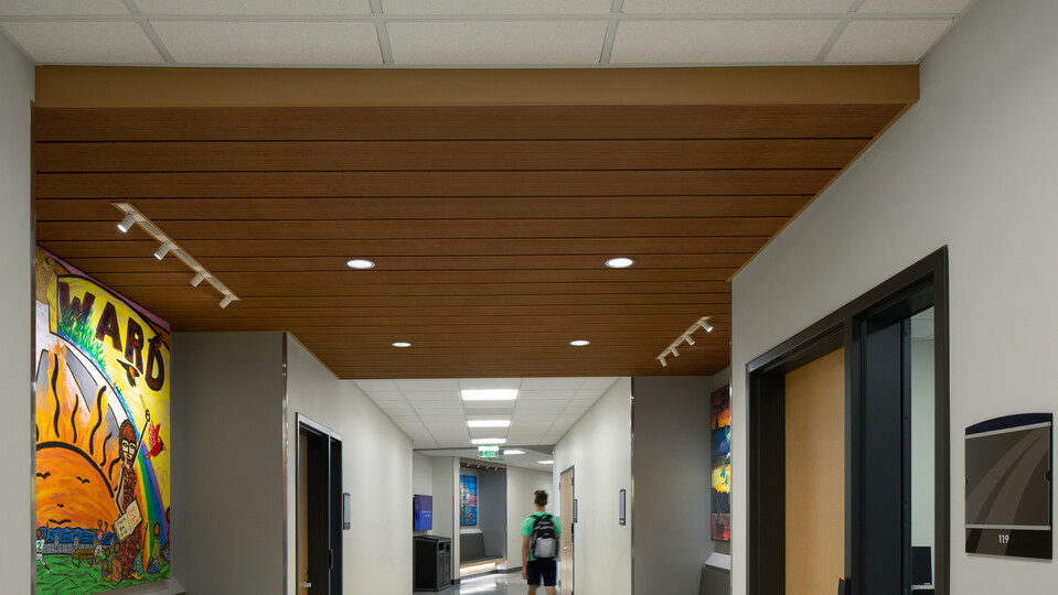 Featured products: Rockfon® Infinity™ Engineered Perimeter Trim - Rockfon® Planar® and Planar® Plus Linear Ceilings