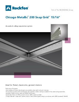 Chicago Metallic 174 200 Snap Grid 15 16 Quot Ceiling Grid System